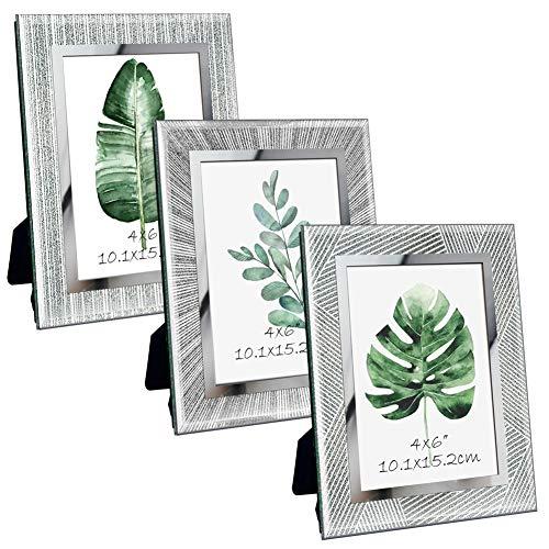 Giftgarden Marco de Fotos 10x15 de Vidrio, Portafotos Multiples de Cristal para la Mesa, con Diseño Original y Moderno del Borde, Set de 3