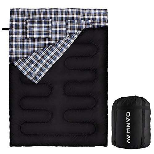 CANWAY Double Sleeping Bag, Flannel Lightweight Waterproof 2 Person Sleeping Bag with 2 Pillows for Camping, Backpacking, or Hiking Outdoor for Adults or Teens Queen Size XL (Flannel)