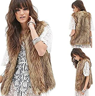 Womens Ladies Fashion Autumn and Winter Warm Short Faux Fur Vests Outwear Jacket