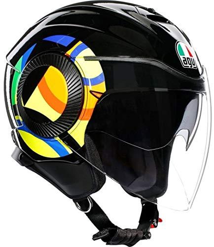AGV ORBYT Casco para Moto, Hombre, Sun&Moon 46 Black/Parrott, M
