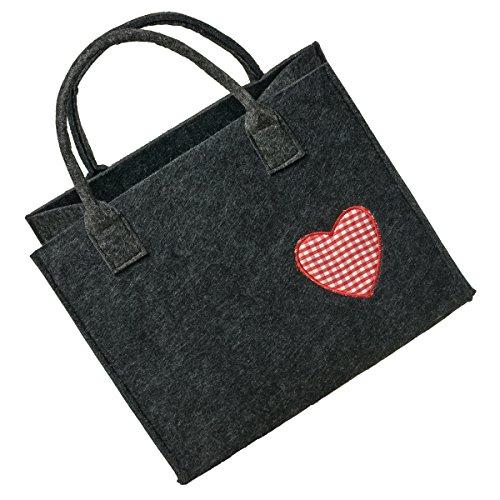 LaFiore24 Hochwertige Filztasche Handtasche Tragetasche Shopper Festival Dirndl Herz-Stickerei (dunkelgrau-rot)