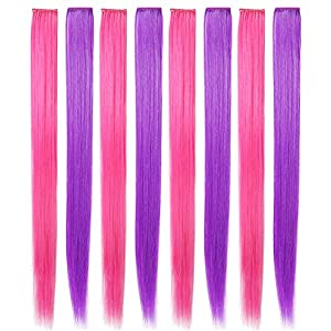 SARARHY Pink and Purple Wig Pieces for Kids Straight Clip in Colored Hair Extensions for Girl (Purple Pink)