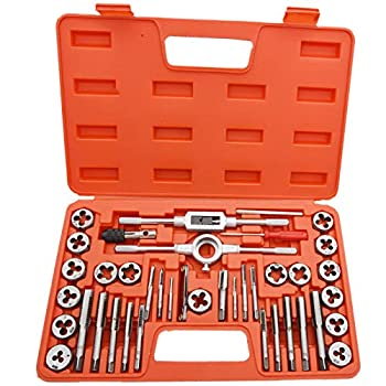 40 Piece Tap and Die Set,SAE Inch Sizes Essential Threading Tool with Complete Accessories and Storage Case for Cutting External and Internal Threads SAE Thread Types  NC NF NPT by NAKAO