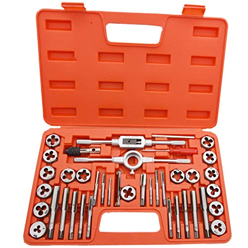 40 Piece Tap and Die Set,SAE Inch Sizes, Essential Threading Tool with Complete Accessories and Storage Case, for Cutting External and Internal Threads, SAE Thread Types: NC, NF, NPT, by NAKAO