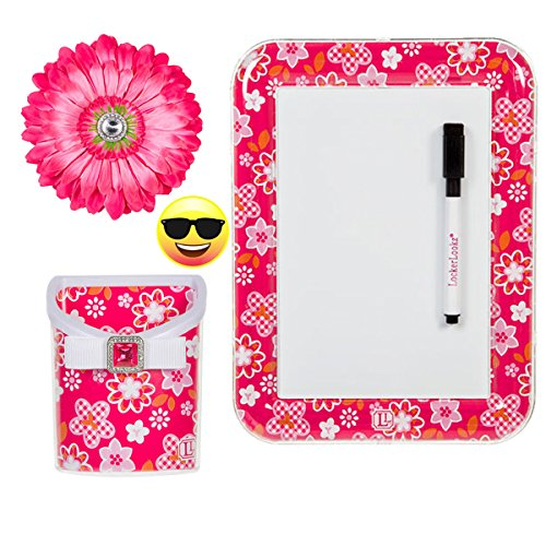 Locker Lookz Dry Erase Board, Locker Lookz Bin, Flower Magnet and Exclusive PartiMoji Sunglass Emoji Magnet, all 2016 Limited Edition (Pink Flower)