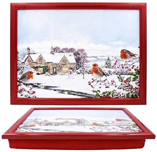 The Leonardo Collection Christmas Macneil Robins Lap Tray, 44x34x6cm, Multicolour, LP51527