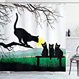 Ambesonne Cat Shower Curtain, Mother Cat on Tree Branch and Baby Kittens in Park Best Friends I Love My Kitty Graphic, Cloth Fabric Bathroom Decor Set with Hooks, 70' Long, Multicolor