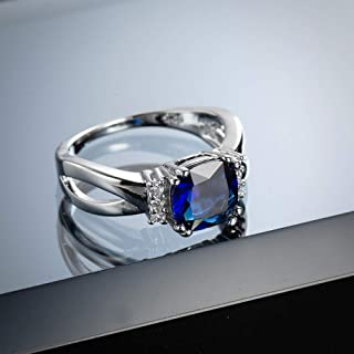 Metmejiao Women's Created Blue Sapphire Rings Birthstone 925 Sterling Silver Wedding Anniversary Solitaire Engagement Ring...