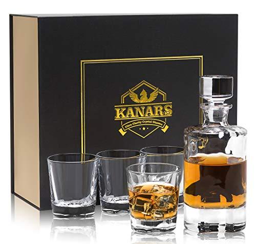 KANARS Vasos y Jarra de Whisky, 600 ml Decantador de Whisky Cristal Sin Plomo con 4 Copas 230 ml, 5 Piezas, Exquisita Caja de Regalo