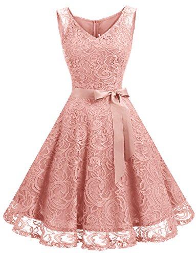 Dressystar DS0010 Brautjungfernkleid Ohne Arm Kleid Aus Spitzen Spitzenkleid Knielang Festliches Cocktailkleid Blush S