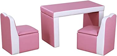 Kids Sofas 2 in 1 Pink Double Sofa Convert to Table and Two Chairs, Toddler Lounge with Wooden Frame and PVC Surface, Childre