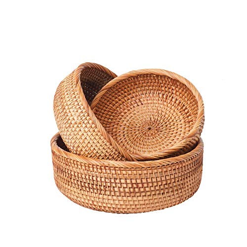 Round Wicker Bread & Fruit Baskets - Natural Bamboo Rattan Handwoven Storage Bowls - Stackable Basket Tray