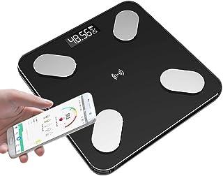 JKCKHA Báscula de pesaje inteligente para el cuerpo, báscula digital de peso inalámbrica para baño con aplicación Bluetooth Android iOS, 180 kg/400 libras negro