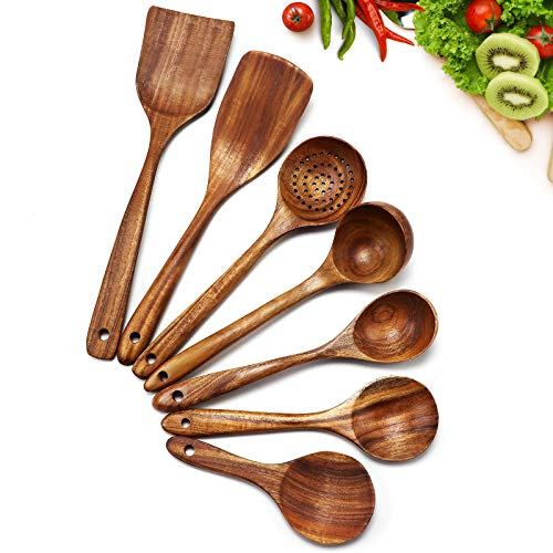Cosyres - Ustensiles de cuisine en bois naturel en provenance du Japon - Ustensiles de cuisine - Anti-rayures et résistants à la chaleur