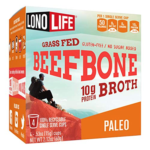 LonoLife Beef Bone Broth Powder, Grass Fed, 10g Collagen Protein, Keto & Paleo Friendly, Gluten Free, Single Serve Cups, 4 Servings (Equal to 40 ounces of broth), 4 Count