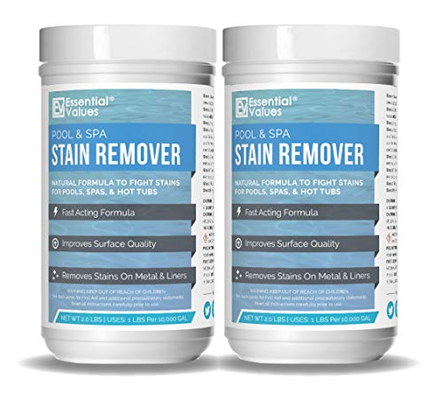 Essential Values 2 Pack Swimming Pool & Spa Stain Remover (4 LBS Total) - Natural & Safe, Works for Vinyl Liners, Fiberglass, Metals
