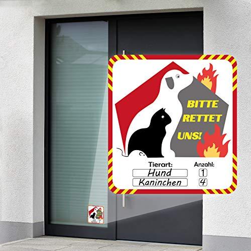 P017 | Notfall Aufkleber | Haustier Rettung 2er Set | Bitte rettet Uns | Brandschutz Leitsystem für Feuerwehr | (90 mm x 90 mm)