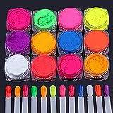 12 Boîtes Pigmento in polvere per unghie? Pigmenti per fluorescenza Polvere glitter ultrafine per unghie Pigmenti per unghie Polvere per unghie Glitter gradiente Iridescente Decorazioni per unghie