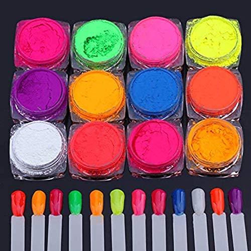 12 Cajas Pigmento Polvo para uñas? Fluorescencia Pigmento Ultrafino Brillo en polvo Pigmentos para uñas Polvo Brillo para uñas Gradiente Decoración iridiscente para uñas