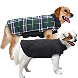 MIGOHI Dog Jackets for Winter Windproof Reversible Dog Coat for Cold Weather British Style Plaid Warm Dog Vest for Small Medium Large Dogs, S
