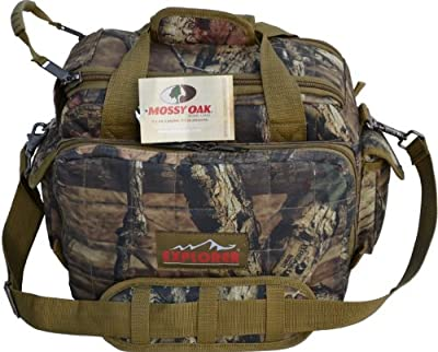 Explorer 8 Pistol Tactical Range Go Bag Assault Gear Hiking EDC Camera Bag MOLLE Modular Deployment Compact Utility Military Surplus Gear (Mossy Oak Khaki Trim)