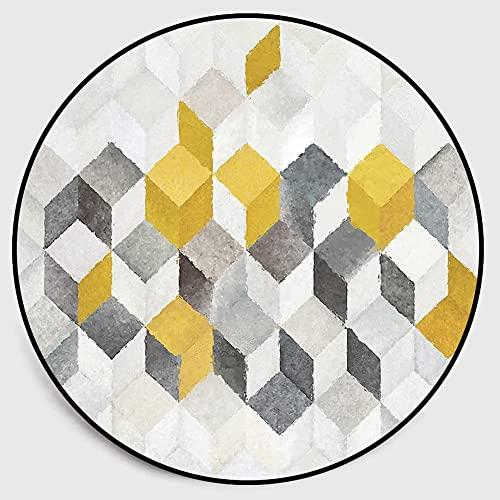 Getrichar Alfombras Redondas de Estilo nórdico alfombras Gris Amarillo Blanco Alfombra geométrica para Sala de Estar Dormitorio Sala de niños cómoda Alfombra Antideslizante