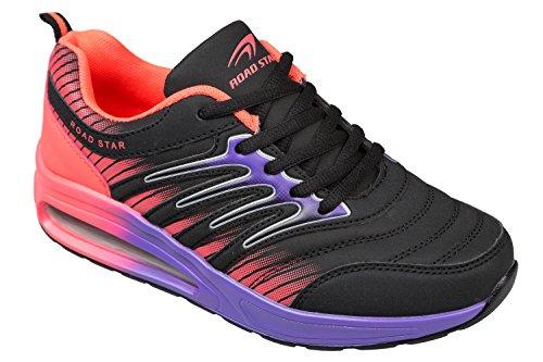 gibra Sportschuhe, sehr leicht und bequem, schwarz/pink/lila, Gr. 39