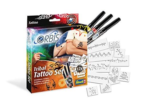 Unbekannt Orbis 30308 Tribal Tattoo Set mit Farbpatronen für die Haut und selbstklebenden Schablonen Kinder und Allen Anderen Kreativen, Zubehör für das Airbrush Power Studio 30020, Mehrfarbig