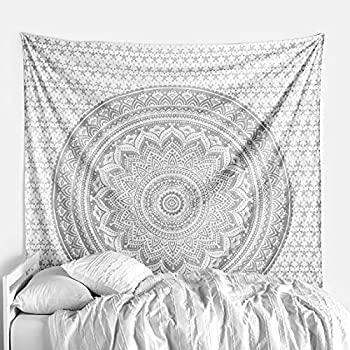 gray and white tapestry