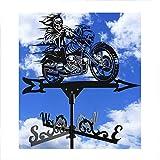 Adorno De Escultura, Crazy Motorcycle Metal Veleta De Hierro para Exteriores Veleta De Viento Yarda Dirección De Veleta Indicador De Dirección De Velocidad del Viento, Negro