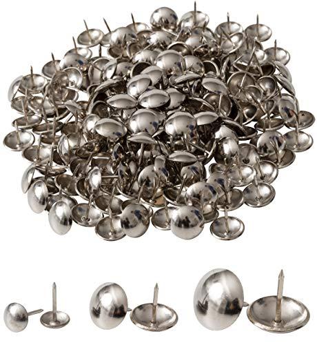 IPEA Tachuelas de tapicería – 200 unidades – Tachuelas decorativas para muebles – Pin de metal para sillones – Color plateado – 20 x 12 mm