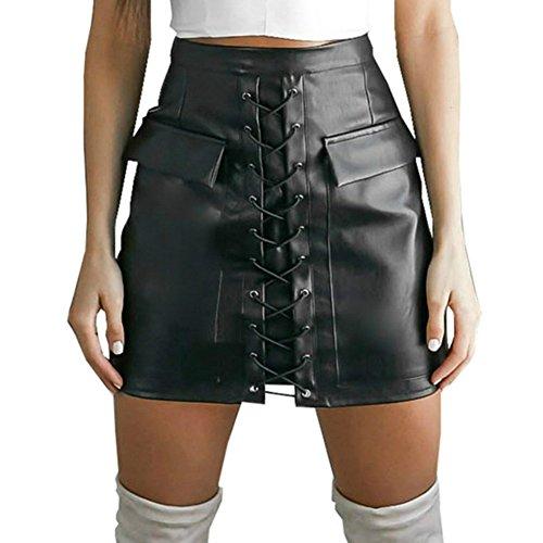 WONDER BEAUTY Mini falda de cuero sintético, negro