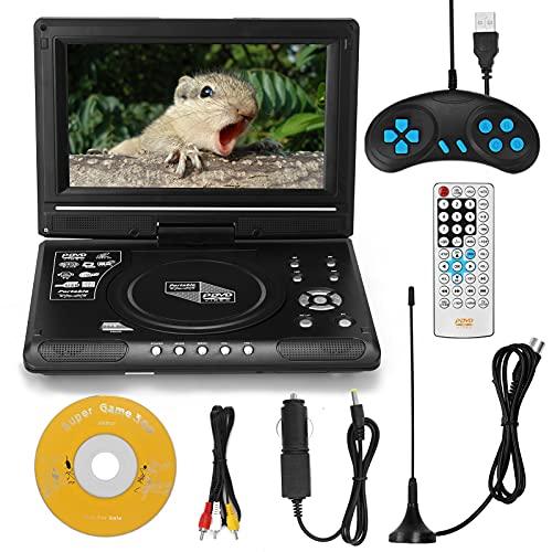 KKmoon DVD Player 8,5-Zoll-HD Tragbarer TV DVD Player Auto VCD-MP3-MPEG-Viewer FM-Radiofunktion mit Spielgriff, C D, Akku, Unterstützt S-D/USB/AV Out/IN