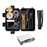 Survival Gear Kits 13 in 1- Outdoor Emergency SOS Survive Tool for Wilderness/Trip/Cars/Hiking/Camping Gear - Wire Saw, Emergency Blanket, Flashlight, Tactical Pen, Water Bottle Clip ect