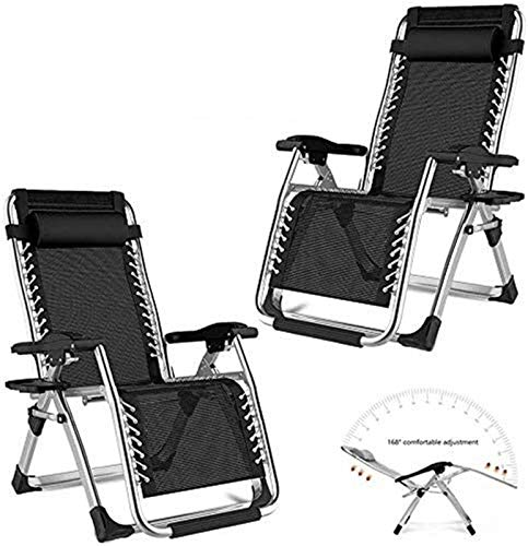 ZXCVB Folding Recliner Set of 2, Adjustable Reclining Sunloungers Chairs Heavy Duty Zero Gravity Sun Lounger Recliner Lounger for Outdoor Patio Camping Beach (Color : Black)
