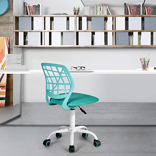 Fanilife - Sedia da ufficio, per scrivania, con design regolabile, sedia da computer e studio per bambini, girevole, senza braccioli, verde Turchese