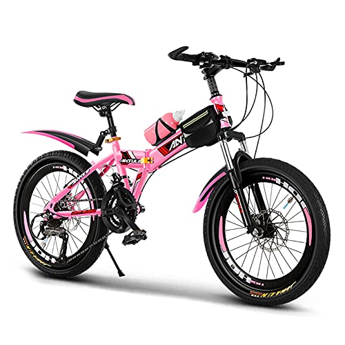 GZMUK 20/22/24 Inch Mountain Bike High Carbon Steel Bicycle MTB for Adults Or Children,Double Disc Brake,Outdoor Bikes for Men Women,Adjustable Seat Height,Pink,24in