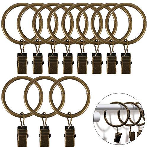 Pulluo 40 pcs Vorhang Ringe Clips Vorhangringe Gardinenringe mit Clips Vorhang Haken bei Schwarz und Bronze 32 mm Innendurchmesser Vorhang Clip für Gardinenstange