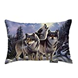 Nicokee Throw Pillow Cover Wild Wolf in Winter Forest with Full Moon Decorative Pillow Case Home Decor 20x12 Inches Pillowcase