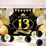 13 Decoración de Fiesta de Cumpleaños de Oro Negro, Extra Grande 13 Banner de fondo para fiesta de cumpleaños Años Decoración de Cumpleaños Suministros de fiesta de cumpleaños para Niños Niñas