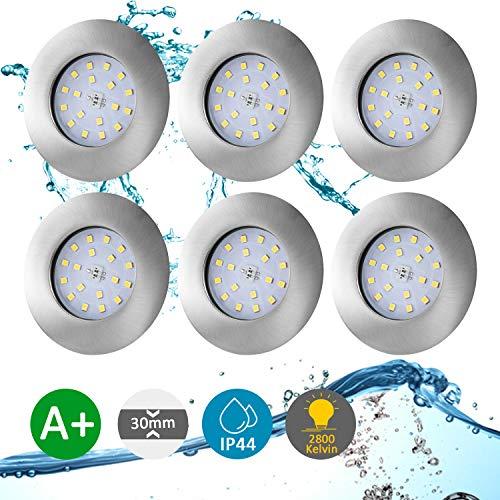 Bojim Bad Einbaustrahler LED flach Ultra IP44 Warmweiß 2800K inkl. 6 x 5.5W fest-verbaute Leuchtmittel 230VEinbauspot 30mm Einbautiefe Einbauloch 60-65mm Wohnzimmer Spot Deckenstrahler 6 x 470LM