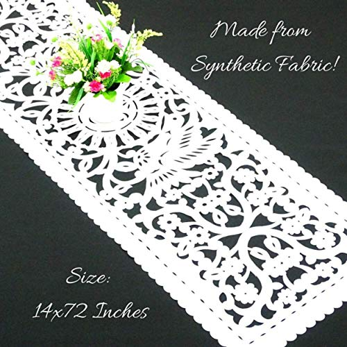 """Mexican Wedding White Papel Picado Table Runner 14x72"""" in Vinyl Fiesta Party Supplies, Perfect for Bridal Showers and Baby Showers Too! FTR7"""