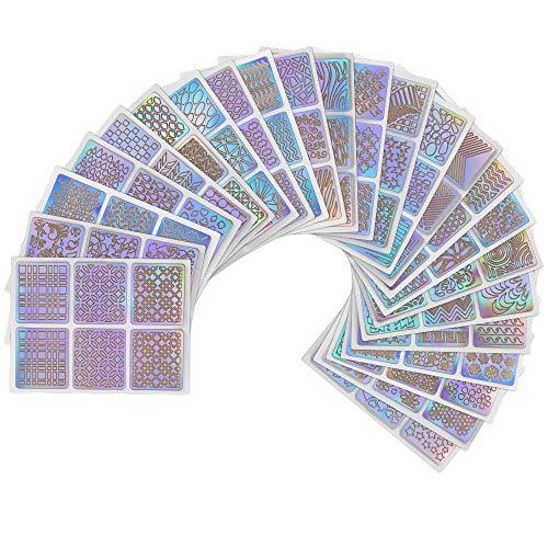 Gobesty Nagel Vinyl Schablonen Aufkleber Set, 24 Blätter 144 Verschiedenes Design DIY Nagellack...