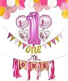 PIXHOTUL Decoraciones para Fiesta de cumpleaños de Baby Girl 1st, Banner de Trona con Corona, One Banner de cumpleaños, Globos número 1 Grandes y 44 Piezas Globos para niña el Primer cumpleaños