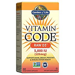 Garden of Life Vitamin D, Vitamin Code Raw D3, Vitamin D 5,000 IU, Raw Whole Food Vitamin D Suppleme