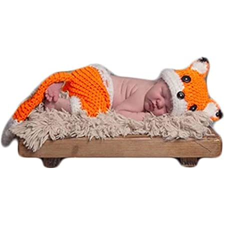 Newborn Photos Baby Photography Shoot Props Outfits Crochet Knit Lovely Fox Hat Shorts for Boy Girls Photo Shoot White