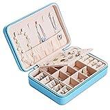 Joyero Pequeña, Caja Joyero para Mujer, Caja de Joyas de Cuero, Joyero portátil de Viaje para Mujer, Jewelry Organizer para anillos, pendientes, collares, pulseras (cielo azul)