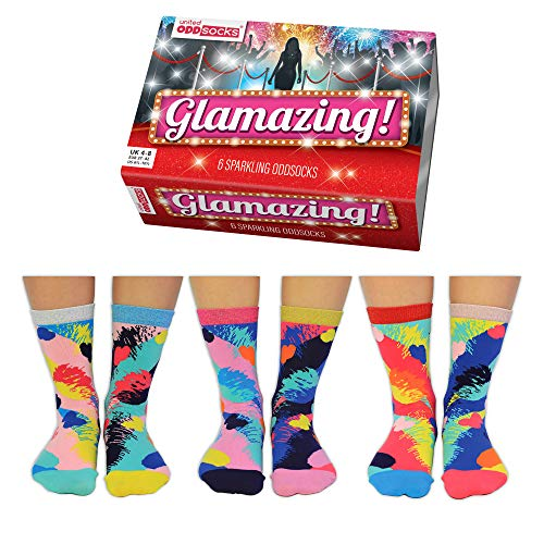 Glamazing Glitzer Oddsocks Socken in 37-42 im 6er Set - Strumpf