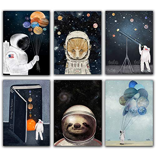 "Unframed Astronaut Planet Space Balloon Telescope Wall Art Canvas Painting Prints Posters Cartoon Animal Fox Bear Wall Pictures for Nursery Art Kids Room Décor Set of 6(8""x10"""