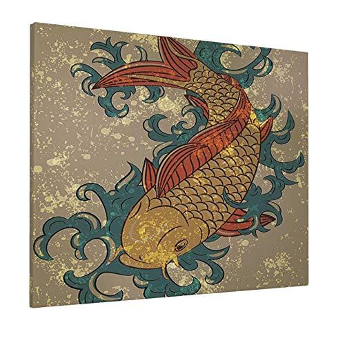 Japanese Decor Grunge Asian Style Oriental Cold Water Koi Carp Fish Aquatic Theme On Distressed Pattern Multi Painting Premium Panoramic Canvas Wall Art Painting 16'X 20'